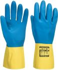 A801 Double Dipped Latex Gauntlet - Yellow/Blue